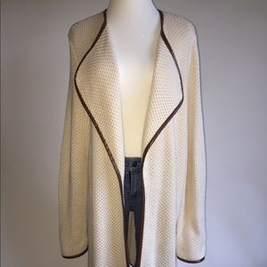 Chico's Ivory Blazer Long Open Front (no closure)